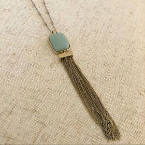 LOFT Light Blue Stone Tassel Necklace